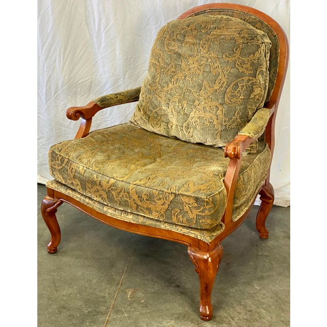 Vintage Walnut Drexel Heritage Upholstered Bergere Chair For Sale - Image 10 of 10