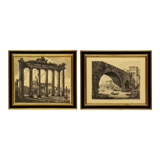 Roman Folio Etchings From Series of 101 Views of Roman Antiquities by Luigi Rossini - Pair For Sale