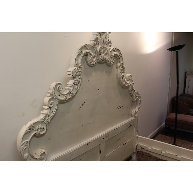 French Country Distressed Queen Bed For Sale - Image 7 of 11