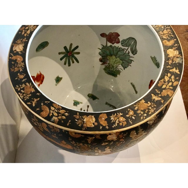 2010s Large Vintage Asian Porcelain Fish Bowl With Black and Copper Glaze For Sale - Image 5 of 6