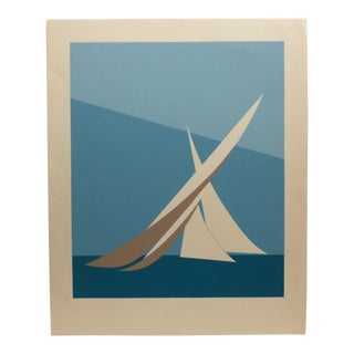 "Vintage Mid-Century ""Abstract Sailboat"" Limited Edition Print For Sale"