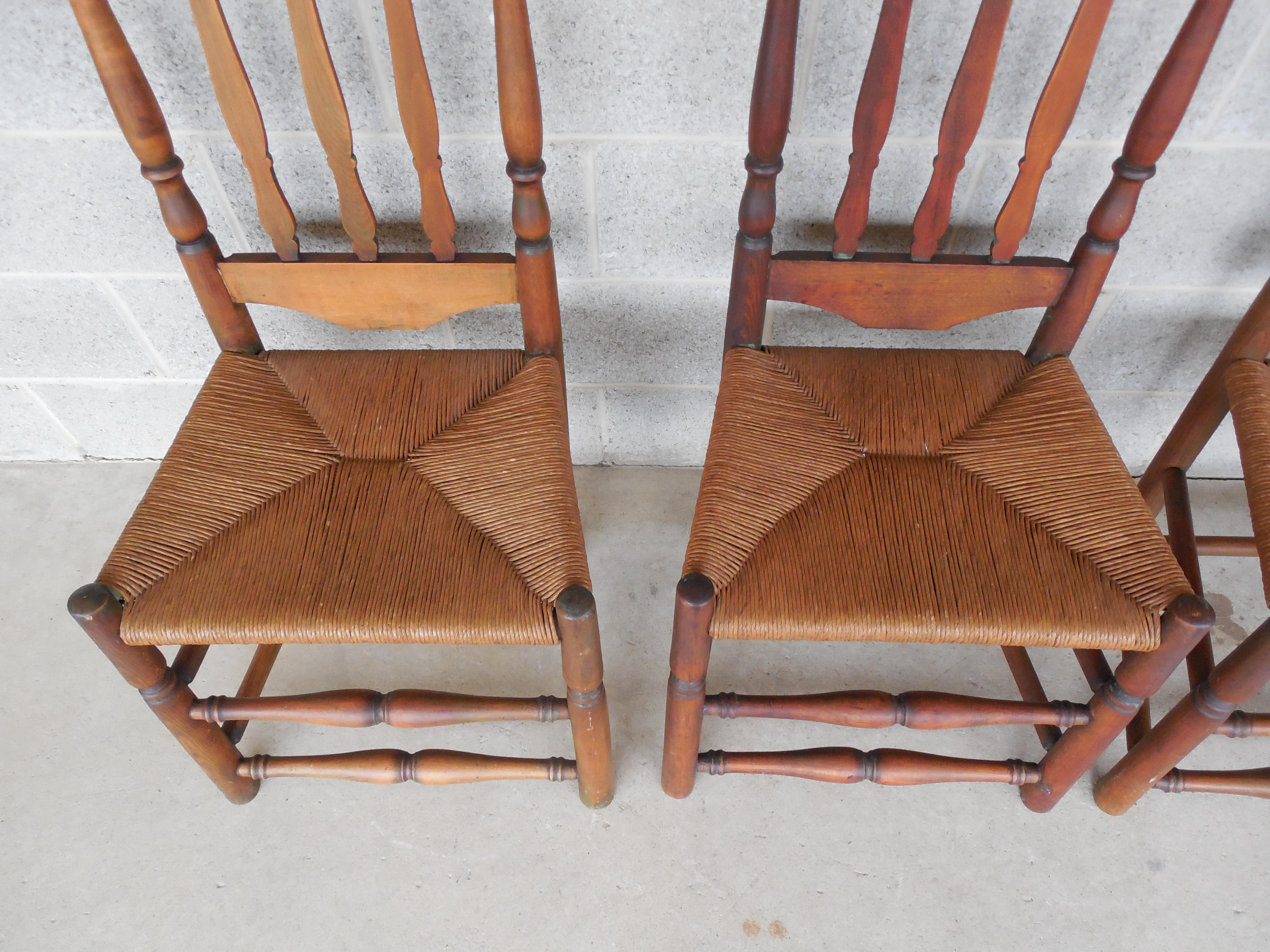 Charmant Set Of 6 Antique Turned Windsor Rush Bottom Chairs   Image 2 Of 12