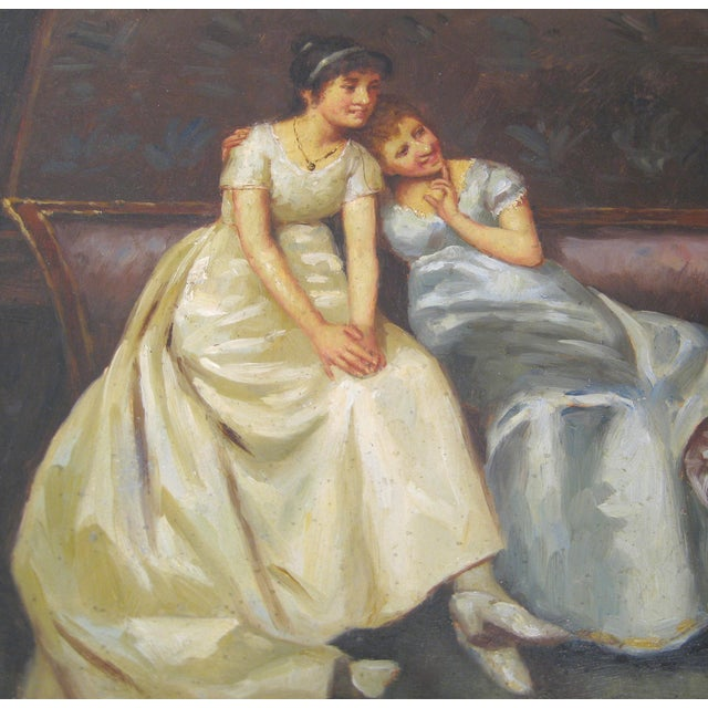 """The Reading"" Regency Era Oil Painting - Image 3 of 4"