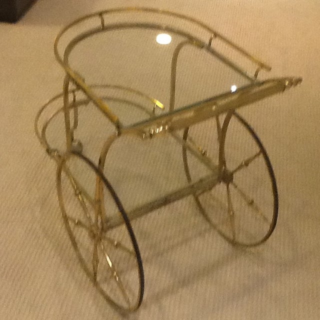 Hollywood Regency Vintage Mid Century Glass and Brass Bar Cart For Sale - Image 3 of 7