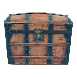 1950's Gothic Rounded Top Wooden Trunk For Sale