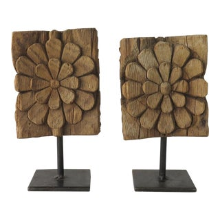 Wood Architectural Fragments on Metal Stands - A Pair