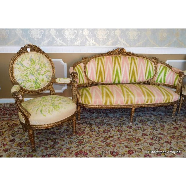 French Carved Giltwood Louis XVI Parlor Set - S/4 - Image 10 of 10