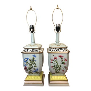Hand Painted Chinoiserie Lamps - A Pair