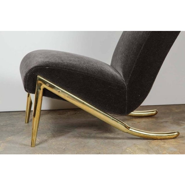Paul Marra Slipper Chair in Brass with Mohair - Image 5 of 7