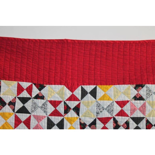 Vibrant Mini-Peiced Hour Glass Crib Quilt For Sale - Image 4 of 7
