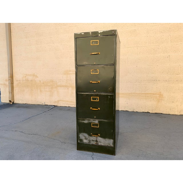 Army Green 1940s Large File Cabinet With Brass Hardware by Steel Furniture Mfg. Co. For Sale - Image 8 of 8
