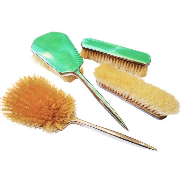 Art Deco Green Enamel Vanity Brushes - Set of 4 - Image 1 of 5