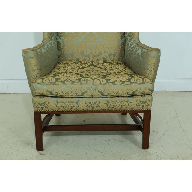 Item: 50146EC: KITTINGER Chippendale Mahogany Wing Back Chair Age: Approx: 50 Years Old Details: Model U204 Down Seat...
