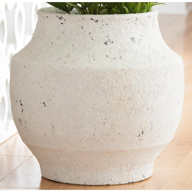 Contemporary White Washed Finish Ceramic Pot, Small For Sale - Image 3 of 3