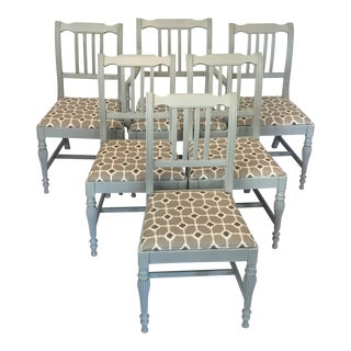 1930s Gustavian Ikat Re-Upholstered Dining Chairs - Set of 6 For Sale