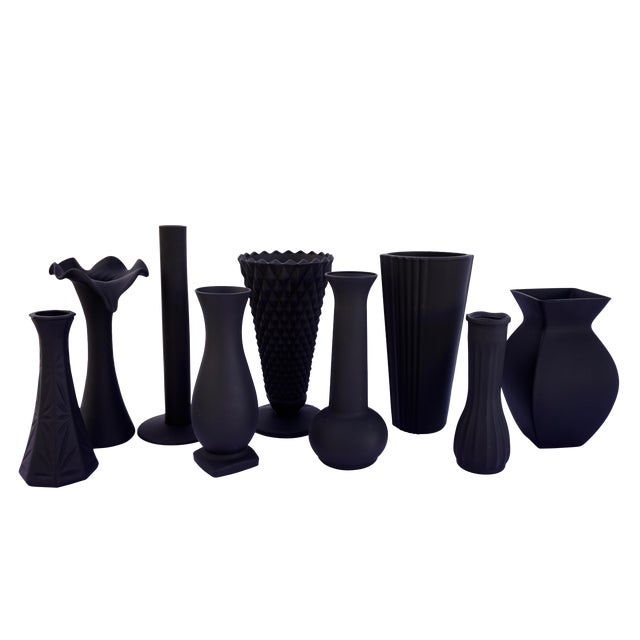 Assorted Vintage Matte Black Vases Modern Halloween Centerpiece