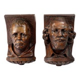 Image of Antique Carved Wood Interior Architectural Corbels - a Pair For Sale