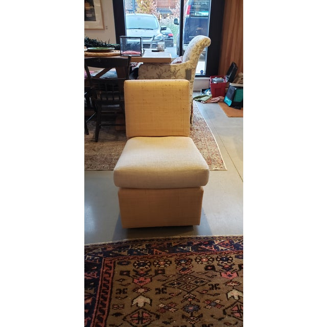 Designed and manufactured by the Billy Baldwin Studio, this small slipper chair is constructed Madagascar cloth and a...