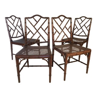 Set of Four Chinese Chippendale Faux Bamboo Dining Chairs For Sale