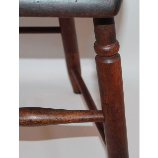 Black Set of Four 19th Century Original Painted Plank Bottom Chairs For Sale - Image 8 of 9