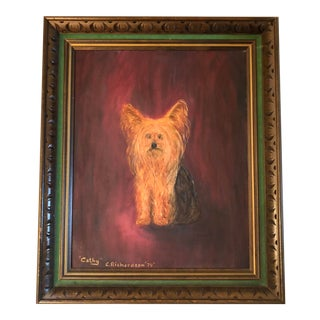 Vintage Yorkie Oil on Board Painting For Sale