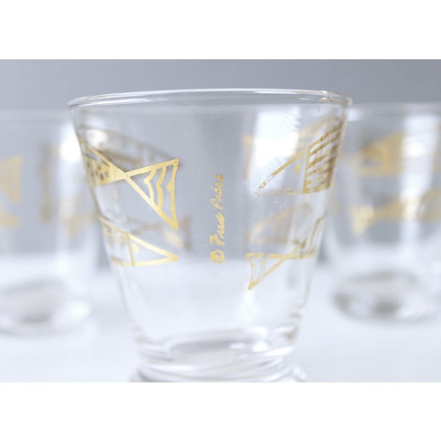 Mid-Century Fred Press Gold Fish Glasses - S/5 - Image 5 of 5