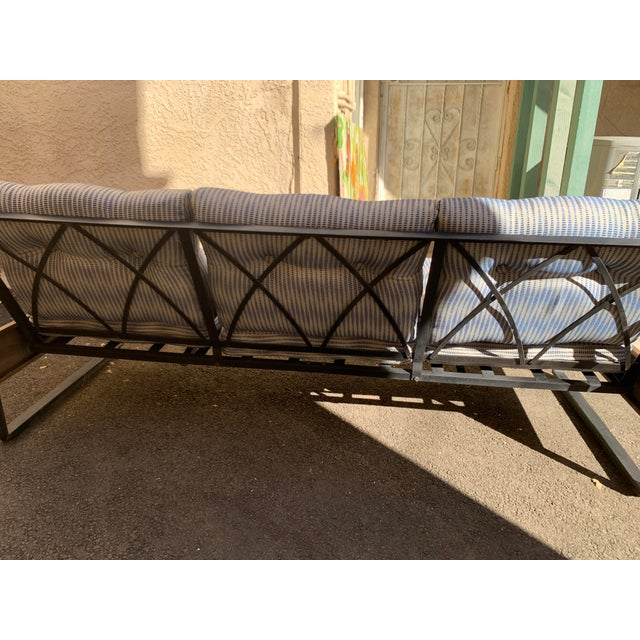 Blue Vintage Metal and Wood Framed Day Bed Sofa For Sale - Image 8 of 9