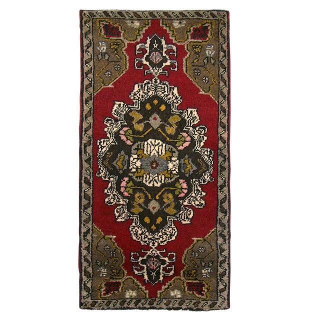 Turkish Floral Medallion Yastik Rug - 1′9″ × 2′10″ - Image 1 of 2