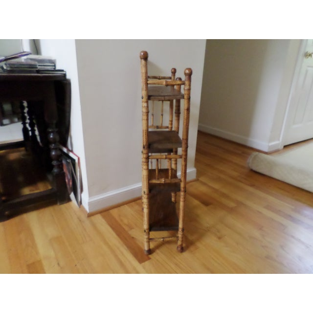 Wood Bamboo Etagere With Burnt Decoration, 19th Century For Sale - Image 7 of 12