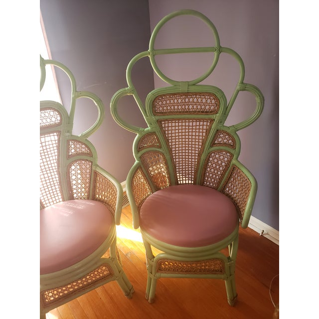 1980s Vintage Rattan Peacock Throne Chairs- A Pair For Sale - Image 10 of 13