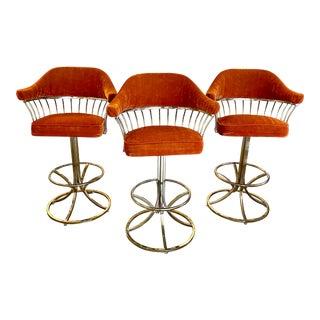 Vintage Orange Velvet and Brass Barstools - Set of 3 For Sale