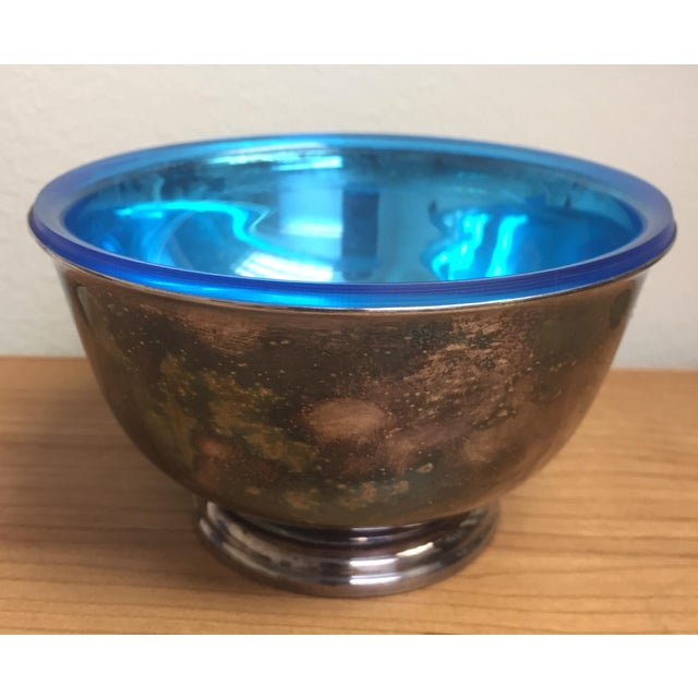 Silverpoint Webster Wilcox Blue Lined Silver Plate Bowl For Sale - Image 7 of 7