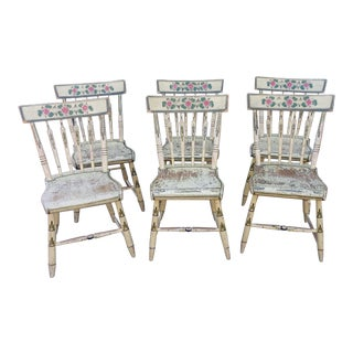 Set 6 Early 19th Century New England Country Primitive Painted Arrow Back Side Chairs For Sale