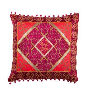 Vintage Embroidered Velvet Pillow For Sale