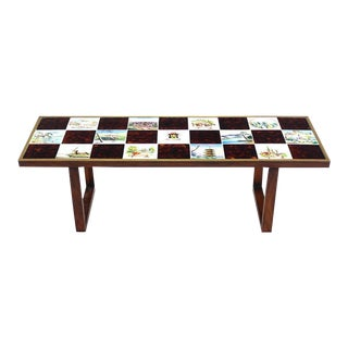 Mid Century Modern Checker Style Tile Top Coffee Table in Brass Frame For Sale