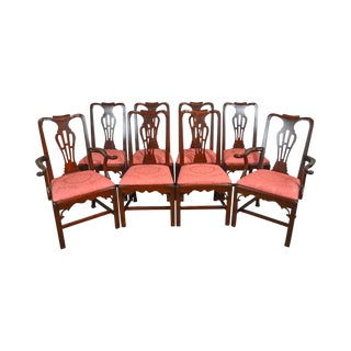Statton Old Towne Solid Cherry Chippendale Style Set of 8 Dining Chairs For Sale