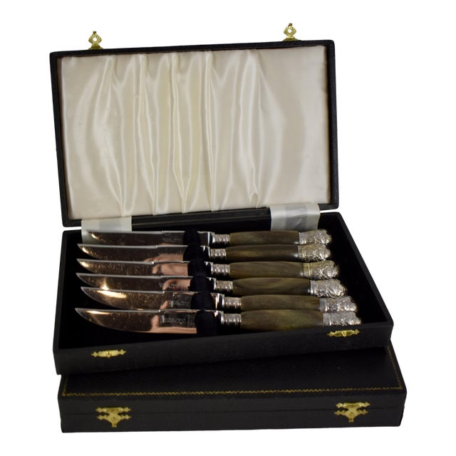 Sheffield English Horn & Silver Capped Steak Knives, a S/6 For Sale