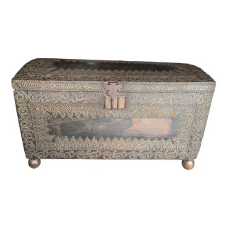 18th Century Spanish Style Leather and Brass Trunk For Sale