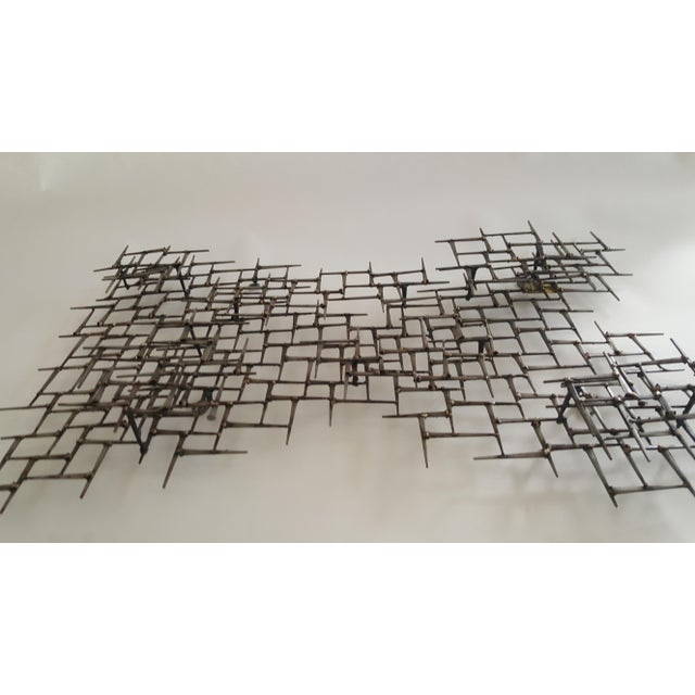 2000s Abstract Metal Bronze & Mason Nails Wall Sculpture For Sale - Image 5 of 7