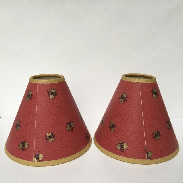 Boho Chic 1990s Vintage Gold Bees & Honeycomb Lamp Shades - A Pair For Sale - Image 3 of 8