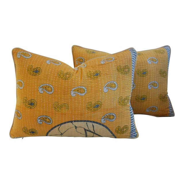 "24"" X 18"" Custom Boho-Chic India Kantha Textile Feather/Down Pillows - Pair - Image 1 of 10"