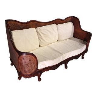 A Unique Caned Regence Style Walnut Wood Canape from France, Circa 1870