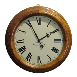 "1900s Seth Thomas 30 Days 24"" Oak Gallery Clock For Sale"