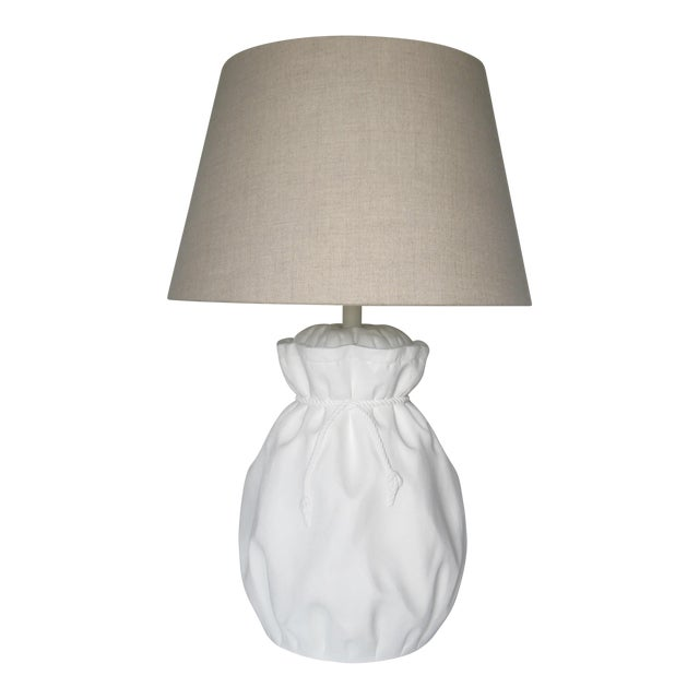 John Dickinson-Style Draped Plaster Rope Cinched Lamp For Sale