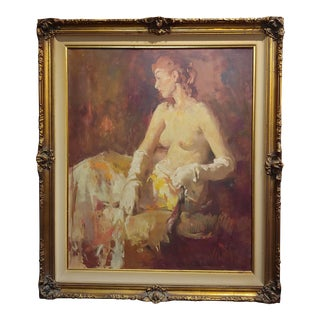 """1930s """"Seated Nude Woman W/ White Gloves"""" Oil Painting by William Frederick Foster For Sale"""