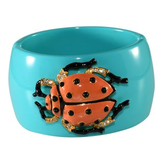 Kenneth Jay Lane Ladybug Beetle Hinged Cuff Bracelet For Sale