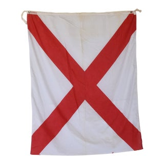 "Vintage Maritime Nautical Naval Signal ""V"" Flag - 46"" X 35"" For Sale"
