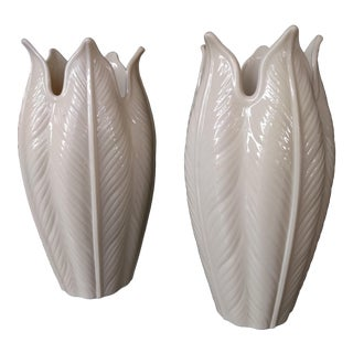 Lenox Embossed Ivory Cream Palm Frond Leaf Vases - a Pair For Sale