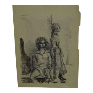 """Original Matted Black & White Monotype """"Singing With the Band"""" by Tomasello"""
