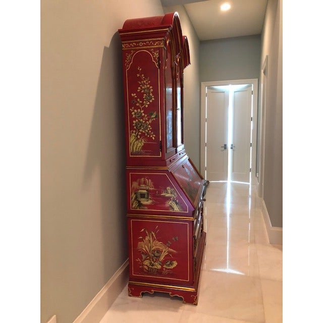 1970s Chinoiserie Red Lacquer Secretary Cabinet For Sale - Image 4 of 8